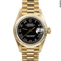 Rolex Ladies 18k Gold President - Black Roman Dial - 79178
