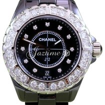Chanel J12 H2428 38mm Black Ceramic Diamond Bezel Dial Quartz...