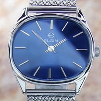 Elgin Rare Mens Classic Stainless Steel Manual Watch 70's...
