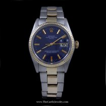 Rolex Date 18K & Stainless w/ Oyster Bracelet & Blue Dial