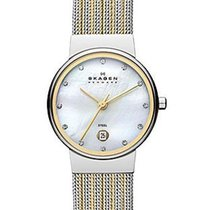 Skagen Ladies Two-Tone Striped Mesh Watch - Mother of Pearl...