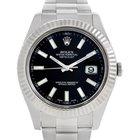 Rolex Datejust Ii Mens Steel 18k White Gold Watch 116334