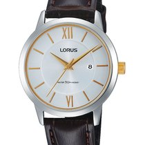 Lorus RH779AX9 bicolor Damenuhr braunes Lederband 50M 32mm
