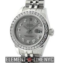 Rolex Datejust Lady 26mm Steel Custom Grey Diamond Dial &...
