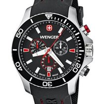 Wenger Mens Sea Force Chrono - Black Dial and Silicone Strap -...