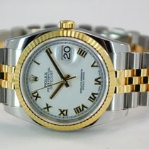 Rolex DateJust Two Tone 18kt YG/SS White Roman Dial-116233