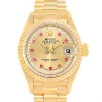 Rolex President Yellow Gold String Diamond Rubies Ladies Watch...