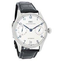 IWC Portuguese Mens Black Leather Swiss Chronograph Watch...