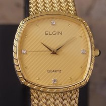Elgin Swiss Made 1980s Mens Luxury 30mm Gold Plated Men's...
