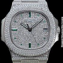 Patek Philippe Jumbo Nautilus 5719g 18k White Gold Diamond...