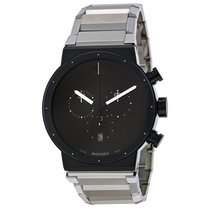 Movado Synergy Chronograph Black Dial Stainless Steel Men'...