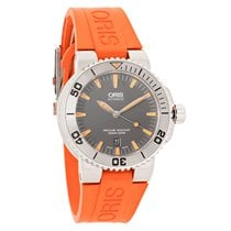 Oris Aquis Date Mens Orange Strap Swiss Automatic Watch...