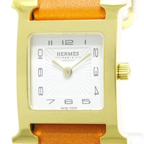 Hermès Near Never Used Hermes H Watch Double Tour Gold Plated...