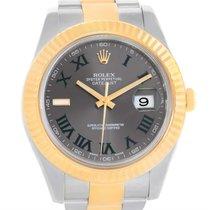 Rolex Datejust Ii Steel 18k Yellow Gold Grey Dial Watch 116333...