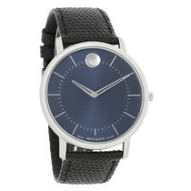 Movado TC Mens Stainless Steel Case Leather Strap Quartz Watch...