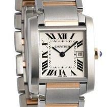 Cartier Tank Française Midsize Silver Dial 18K Gold &...