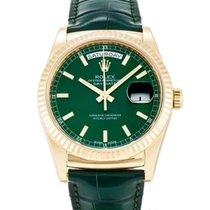 Rolex Day-Date 36 18 kt Gelbgold Leder 118138 Grün