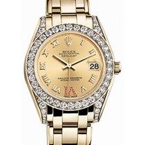Rolex Pearlmaster 34 81158 Champagne Roman Diamond Set VI set...