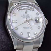 Rolex President Day-date 118209 New Style 18k W Gold Mop...