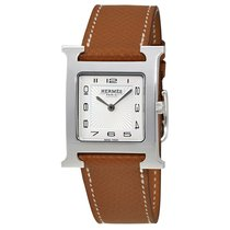 Hermès H Hour White Dial Brown Leather Ladies Watch
