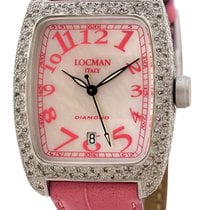 Locman Diamond Tonneau Mother Of Pearl Dial Pink Leather Strap...