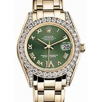 Rolex Pearlmaster 34 81158 Olive Green Roman Diamond Set...