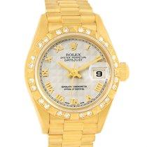 Rolex President Datejust 18k Yellow Gold Diamond Watch 69258