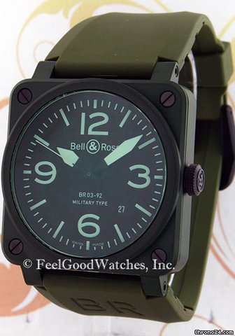 Bell & Ross BR03-92-CK Military Ceramic, Green Ceramic