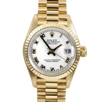 Rolex Ladies 18k Gold President - White Roman Dial - 79178
