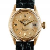 Rolex Datejust Lady 18kt Gelbgold Automatik Leder Armband 26mm...
