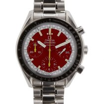 Omega Speedmaster Mens Stainless Steel Red Dial Automatic...