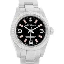 Rolex Steel 18k White Gold Pink Hour Markers Ladies Watch 176234