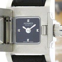 Hermès Polished Hermes Mini Medor Steel Leather Quartz Ladies...