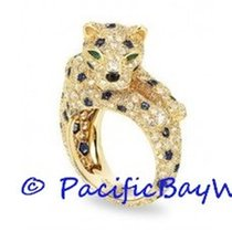 Cartier Yellow Gold Panthere Diamond Sapphire Ring