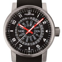 Fortis Spacematic Black-Red Automatic Day/Date Steel Mens...