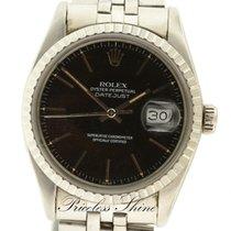 Rolex Datejust Vintage Black 36mm Steel Automatic Plexi Glass...