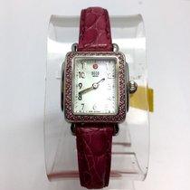 Michele Deco Mini Steel Ladies Watch W/ 84 Pink Factory...