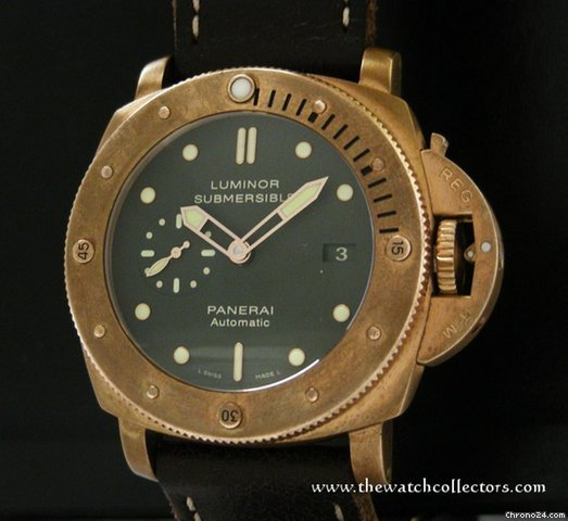 "Panerai Very Rare Limited Edition Submersible 1950 3 Days ""Bronzo"" PAM 382"" Full Set"