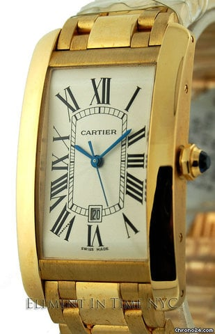 Cartier Tank Americaine Large Yellow Gold On Bracelet Automatic