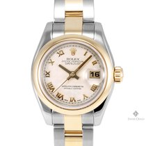 Rolex Datejust Steel and Gold Ivory Pyramid Roman Numeral Dial...