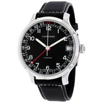 Longines Heritage Military 1938 Black Dial Black Leather Band...