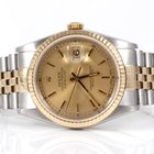 Rolex Mens 2tone Datejust - Champagne Dial W/ Outer Tracks 16233