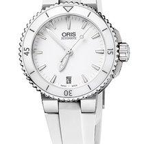 Oris Aquis Date 36, Ceramic Top, White Dial, Rubber