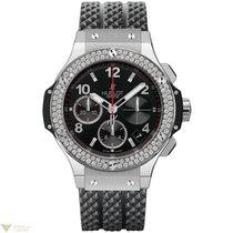 Hublot Big Bang 41mm Black Magic Steel Diamonds Rubber Men`s...