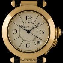 Cartier 18k Yellow Gold Cream Dial Pasha Gents Wristwatch