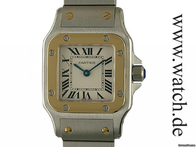 Cartier Santos Galbe PM kleines Modell Stahl/Gelbgold 35x24mm