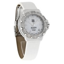 TAG Heuer Formula 1 Diamond Mid-Size White Leather Strap Watch...