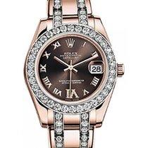 Rolex Pearlmaster 34 81285 Chocolate Roman Diamond Markers...