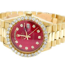 Rolex 18K Mens Yellow Gold Rolex President Day-Date 36MM Red...