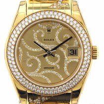 Rolex Datejust Pearlmaster Arabesque Diamonds 81338 18k Yellow...